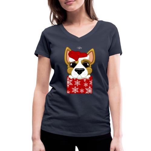 Christmascorgi - Stanley & Stellan naisten v-aukkoinen luomu-T-paita