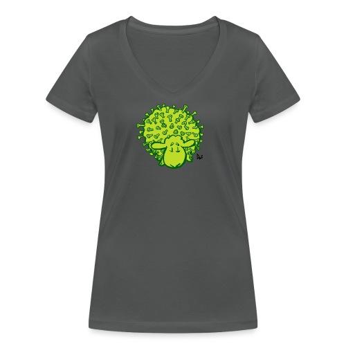 Viruslampaat - Stanley & Stellan naisten v-aukkoinen luomu-T-paita