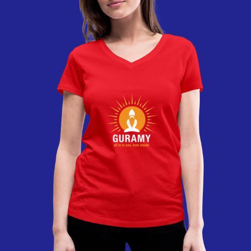 final white con scritta CORRETTO - Women's Organic V-Neck T-Shirt by Stanley & Stella