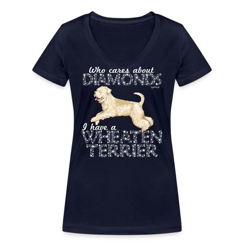 Wheaten Terrier Diamonds 4 - Women's Organic V-Neck T-Shirt by Stanley & Stella