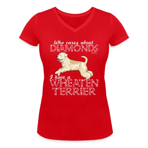 Wheaten Terrier Diamonds 4 - Women's Organic V-Neck T-Shirt by Stanley & Stella