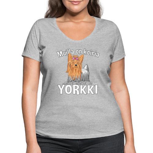 Yorkki Koiria - Stanley & Stellan naisten v-aukkoinen luomu-T-paita