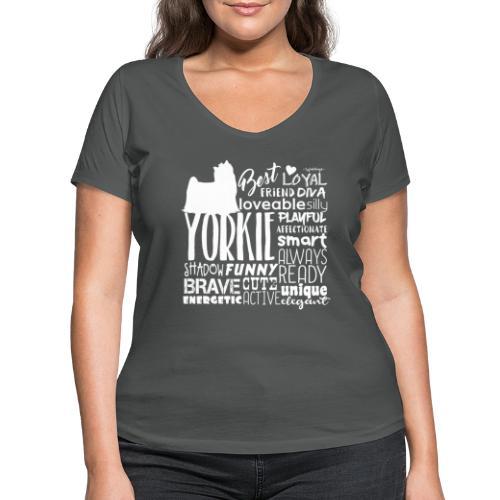 Yorkshire Terrier Words W - Stanley & Stellan naisten v-aukkoinen luomu-T-paita