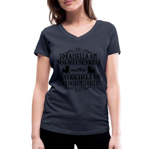 Yorkshirenterrieri Enkeli 5 - Stanley & Stellan naisten v-aukkoinen luomu-T-paita