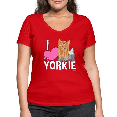 I love my Yorkie - Stanley & Stellan naisten v-aukkoinen luomu-T-paita