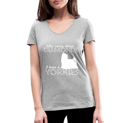 yorkiediamonds2 - Stanley & Stellan naisten v-aukkoinen luomu-T-paita
