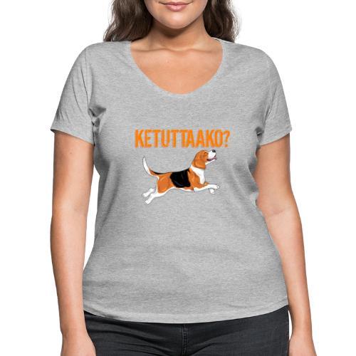 Ketuttaako Beagle - Stanley & Stellan naisten v-aukkoinen luomu-T-paita