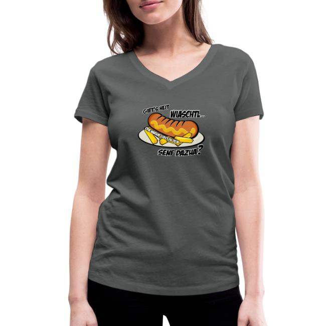 Vorschau: Wiaschtl mit Senf - Frauen Bio-T-Shirt mit V-Ausschnitt von Stanley & Stella