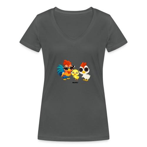Huhn - von Momio Designer Emeraldo. - Frauen Bio-T-Shirt mit V-Ausschnitt von Stanley & Stella