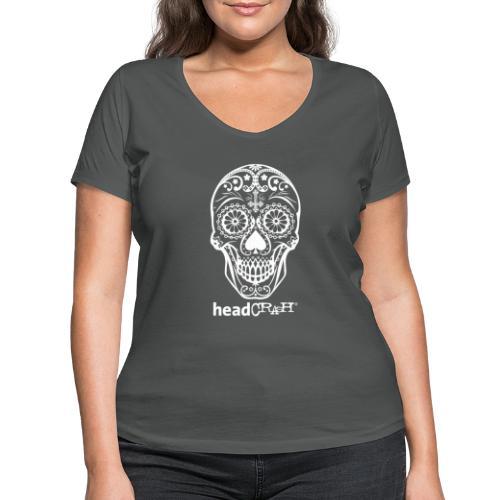 Skull & Logo white - Frauen Bio-T-Shirt mit V-Ausschnitt von Stanley & Stella