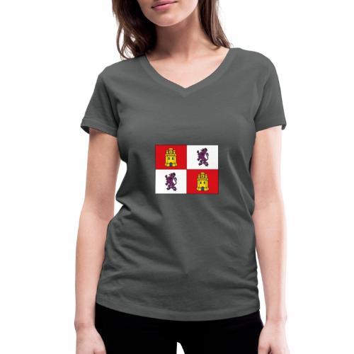 ESCUDO CASTILLA Y LEON - Camiseta ecológica mujer con cuello de pico de Stanley & Stella