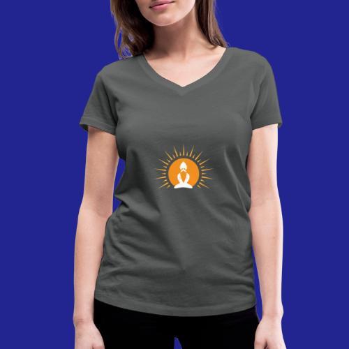 Guramylyfe logo white no text - Women's Organic V-Neck T-Shirt by Stanley & Stella