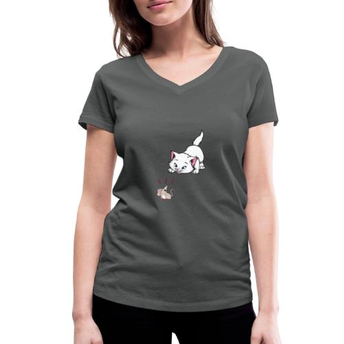 Katze und Maus Achtung Katze - Frauen Bio-T-Shirt mit V-Ausschnitt von Stanley & Stella