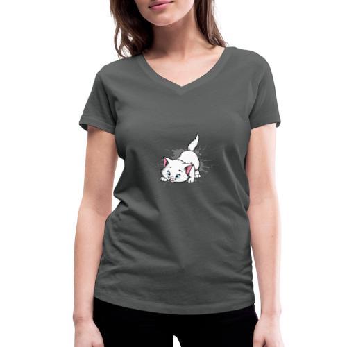 Katze Splash Pfützen Sprung - Frauen Bio-T-Shirt mit V-Ausschnitt von Stanley & Stella