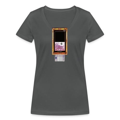 banksy 500 euro shred - Frauen Bio-T-Shirt mit V-Ausschnitt von Stanley & Stella