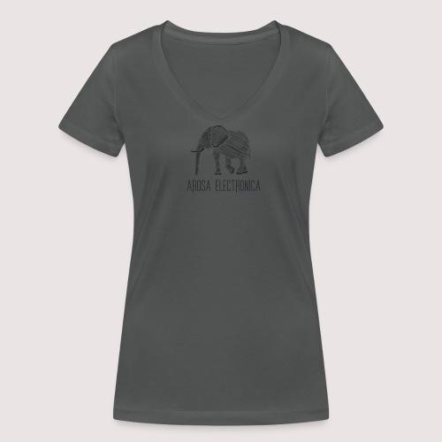 Elefant Schwarz - Frauen Bio-T-Shirt mit V-Ausschnitt von Stanley & Stella