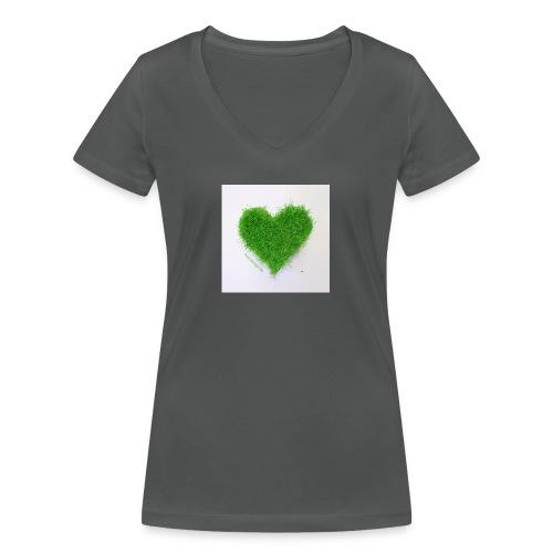 Herzrasen Button - Frauen Bio-T-Shirt mit V-Ausschnitt von Stanley & Stella