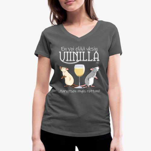 Yksin Viinillä Rottani V - Stanley & Stellan naisten v-aukkoinen luomu-T-paita