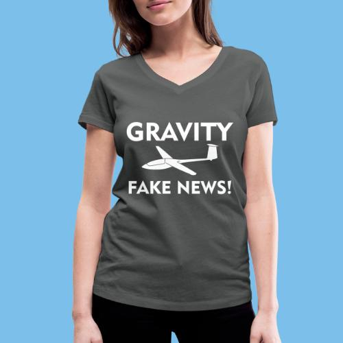 fake news Schwerkraft Segelflieger Segelflugzeug - Frauen Bio-T-Shirt mit V-Ausschnitt von Stanley & Stella