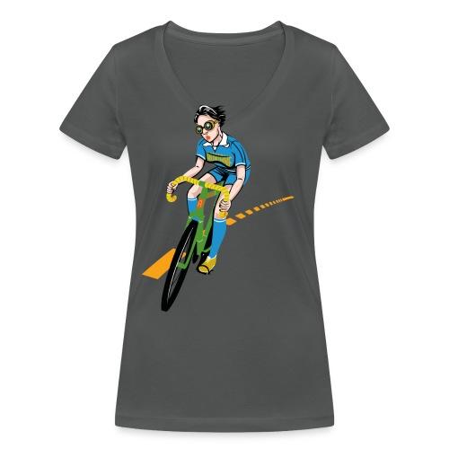 The Bicycle Girl - Frauen Bio-T-Shirt mit V-Ausschnitt von Stanley & Stella