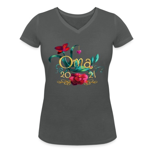 Oma 2021 - Frauen Bio-T-Shirt mit V-Ausschnitt von Stanley & Stella