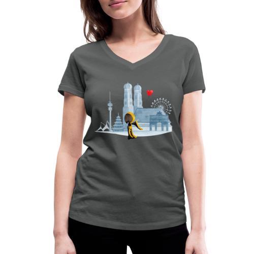 Skyline München mit Münchner Kindl und Herz - Frauen Bio-T-Shirt mit V-Ausschnitt von Stanley & Stella