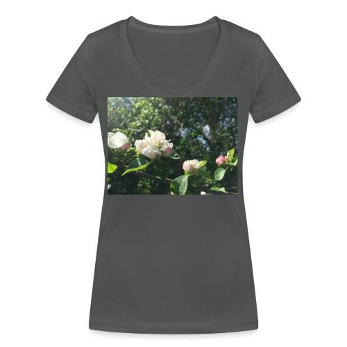 The Flower Shirt - Æbleblomster - Økologisk Stanley & Stella T-shirt med V-udskæring til damer
