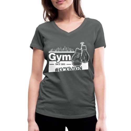 Gym Druckfarbe weiss - Frauen Bio-T-Shirt mit V-Ausschnitt von Stanley & Stella