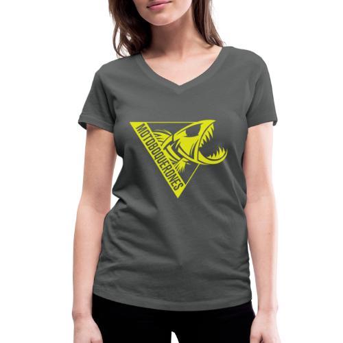 Logo Motoboquerones amarillo - Camiseta ecológica mujer con cuello de pico de Stanley & Stella