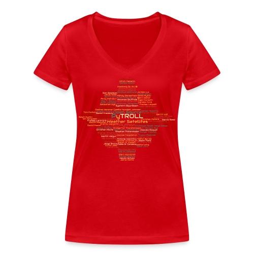 Pytroll wordcloud march 2019 - Women's Organic V-Neck T-Shirt by Stanley & Stella