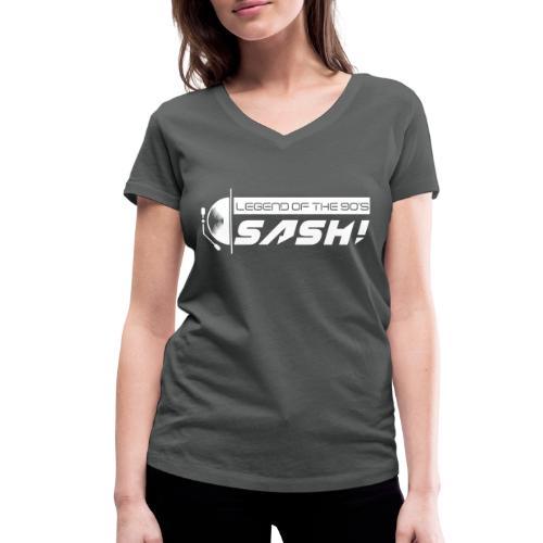 DJ SASH! Turntable Logo - Women's Organic V-Neck T-Shirt by Stanley & Stella