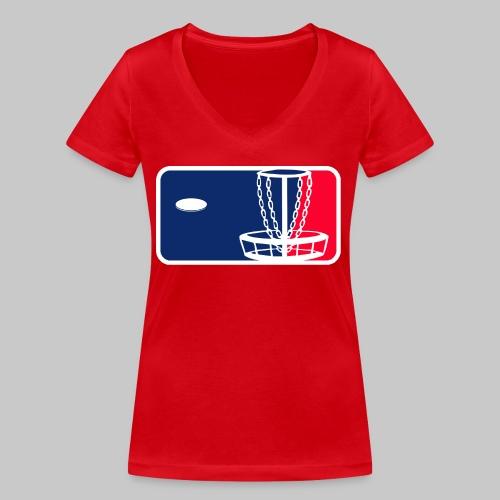Major League Frisbeegolf - Stanley & Stellan naisten v-aukkoinen luomu-T-paita