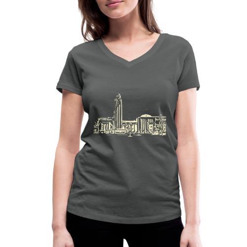 Helsinki railway station pattern trasparent beige - Women's Organic V-Neck T-Shirt by Stanley & Stella
