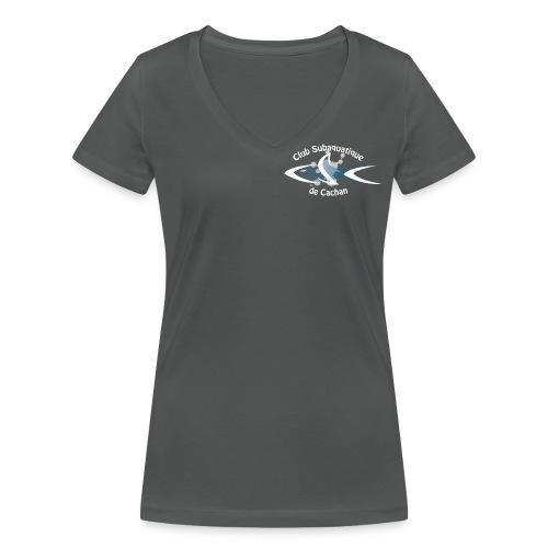 CSC Logo v2 text neg png - T-shirt bio col V Stanley & Stella Femme