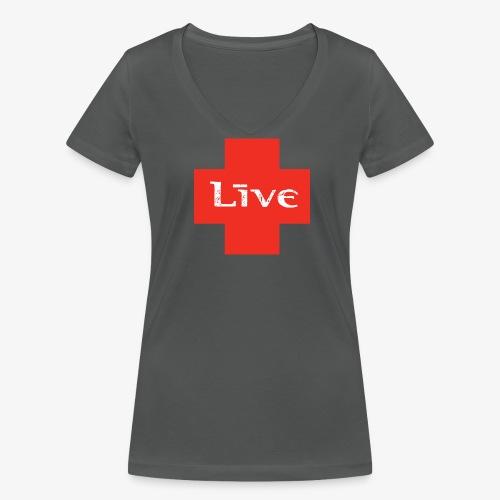 live cross HR png - Vrouwen bio T-shirt met V-hals van Stanley & Stella