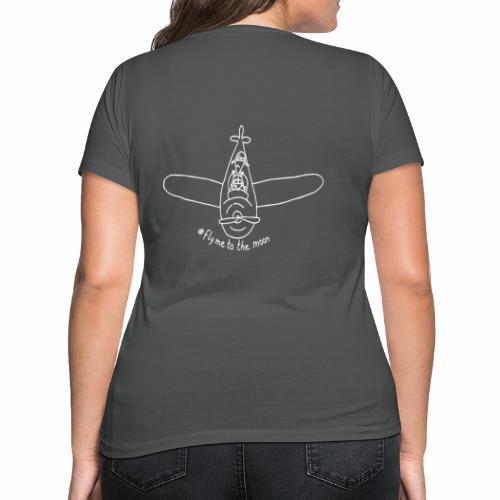 #FlyMeToTheMoon - White - Women's Organic V-Neck T-Shirt by Stanley & Stella