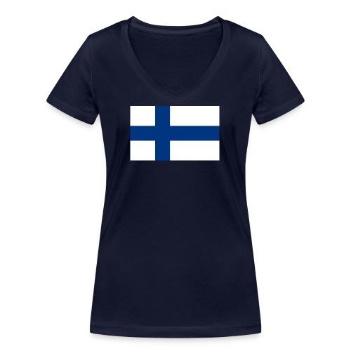 800pxflag of finlandsvg - Stanley & Stellan naisten v-aukkoinen luomu-T-paita