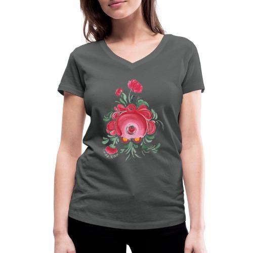 Ostfriesische Rose - Frauen Bio-T-Shirt mit V-Ausschnitt von Stanley & Stella