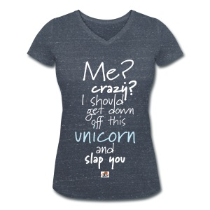 Crazy Unicorn - Dark - Women's Organic V-Neck T-Shirt by Stanley & Stella