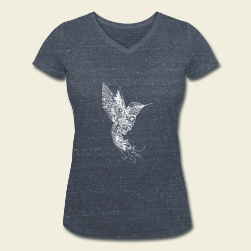 Großer Kolibri in weiß - Frauen Bio-T-Shirt mit V-Ausschnitt von Stanley & Stella