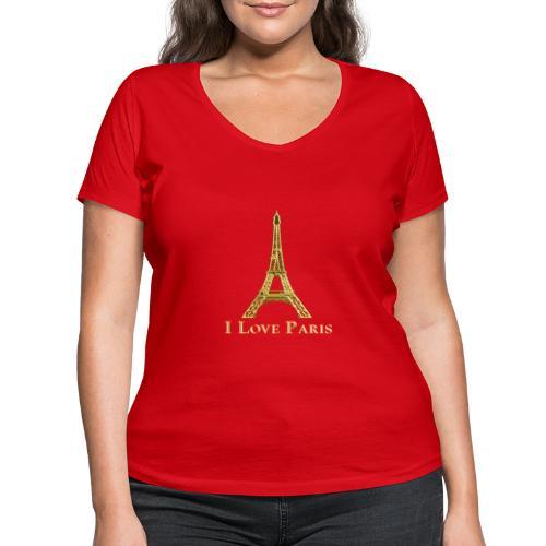 Design Paris I love paris - T-shirt bio col V Stanley & Stella Femme