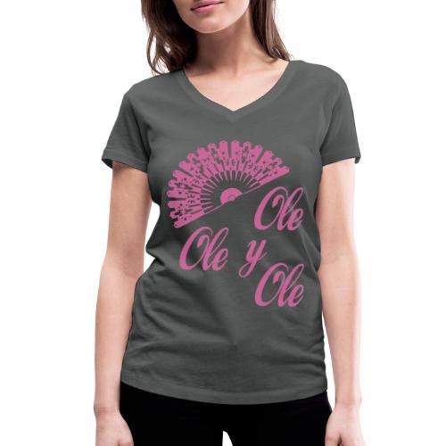 Ole,Ole y Ole (Mujer) - Camiseta ecológica mujer con cuello de pico de Stanley & Stella