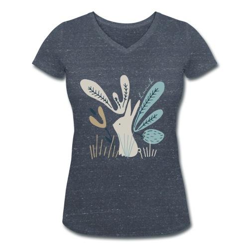 Rabbit in winter wonderland - T-shirt ecologica da donna con scollo a V di Stanley & Stella