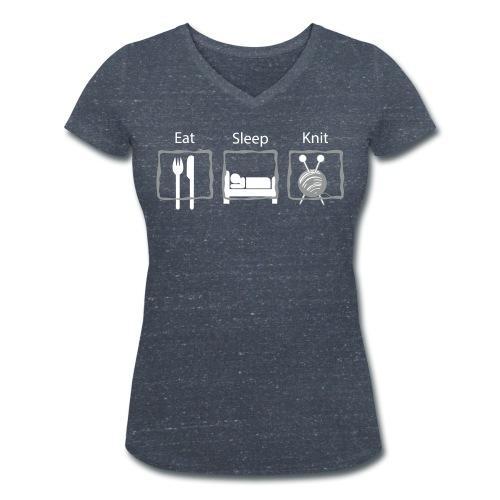 Eat Sleep Knit V-hals T-shirt - Vrouwen bio T-shirt met V-hals van Stanley & Stella