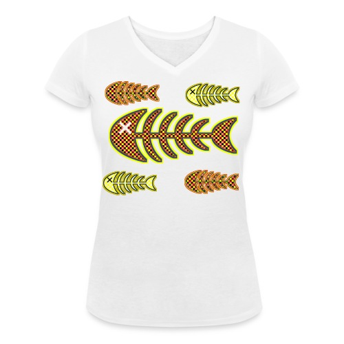 dead fishes - legs in orange and yellow - Women's Organic V-Neck T-Shirt by Stanley & Stella