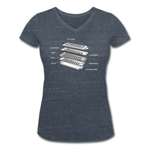 Exploded harmonica - white text - Women's Organic V-Neck T-Shirt by Stanley & Stella
