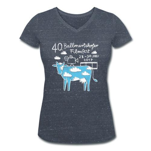 170415 B Filmfest Kuh weisse Schrift png - Frauen Bio-T-Shirt mit V-Ausschnitt von Stanley & Stella