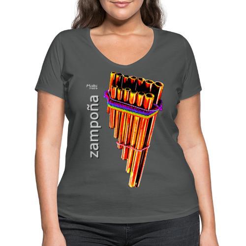 Zampoña Clara - Frauen Bio-T-Shirt mit V-Ausschnitt von Stanley & Stella