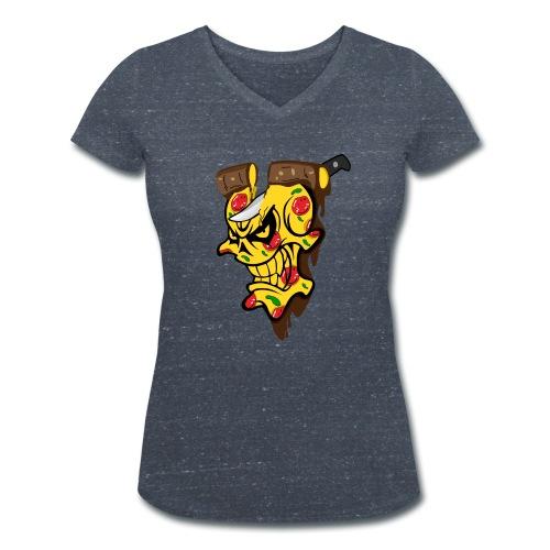 Pizza Schädel mit Messer - Frauen Bio-T-Shirt mit V-Ausschnitt von Stanley & Stella