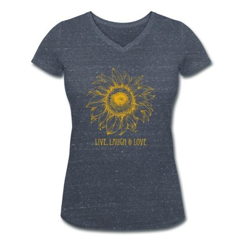 Sonnenblume Zeichnung - Frauen Bio-T-Shirt mit V-Ausschnitt von Stanley & Stella
